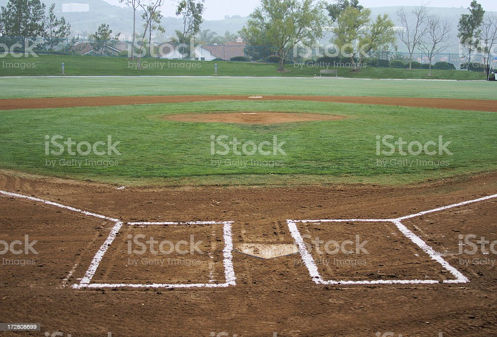 Panoramic view of a baseball field under cloudy sky stock photo