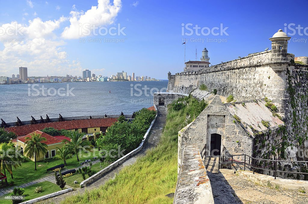 Panoramic view of a castle in Havana stock photo