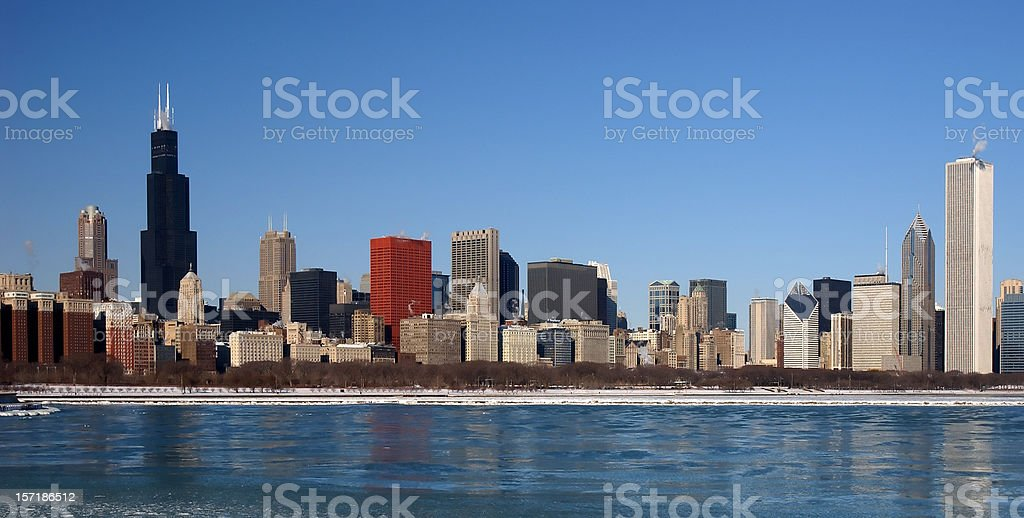 Panoramic view of a Chicago skyline. royalty-free stock photo