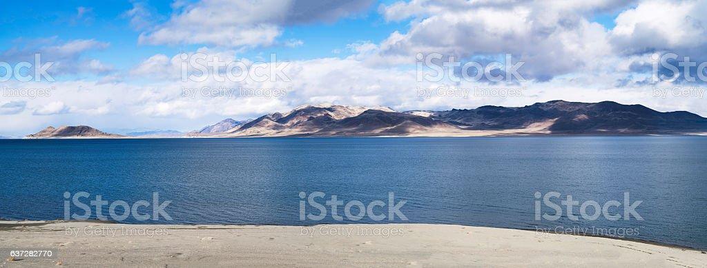 Panoramic view of a desert Lake in Nevada stock photo