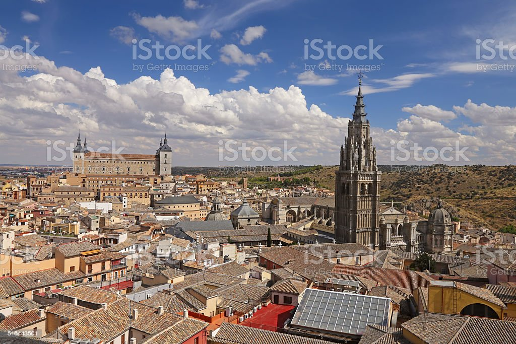 Panoramic view of a european town stock photo