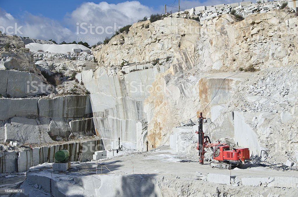 Panoramic view of a granite quarry on a sunny day stock photo