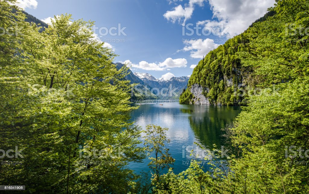 Panoramic view of a idyllic alpine lake in Berchtesgaden, Bavaria, Germany stock photo