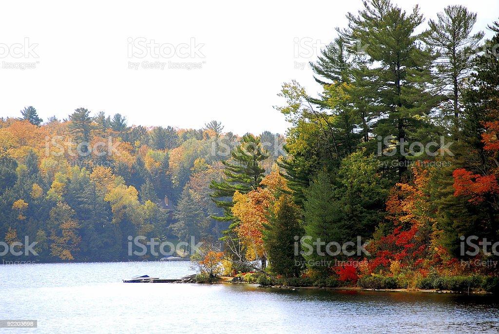 Panoramic view of a lake at autumn royalty-free stock photo