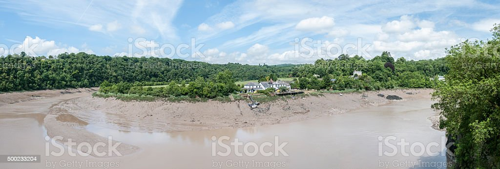 Panoramic View Of A Muddy River stock photo