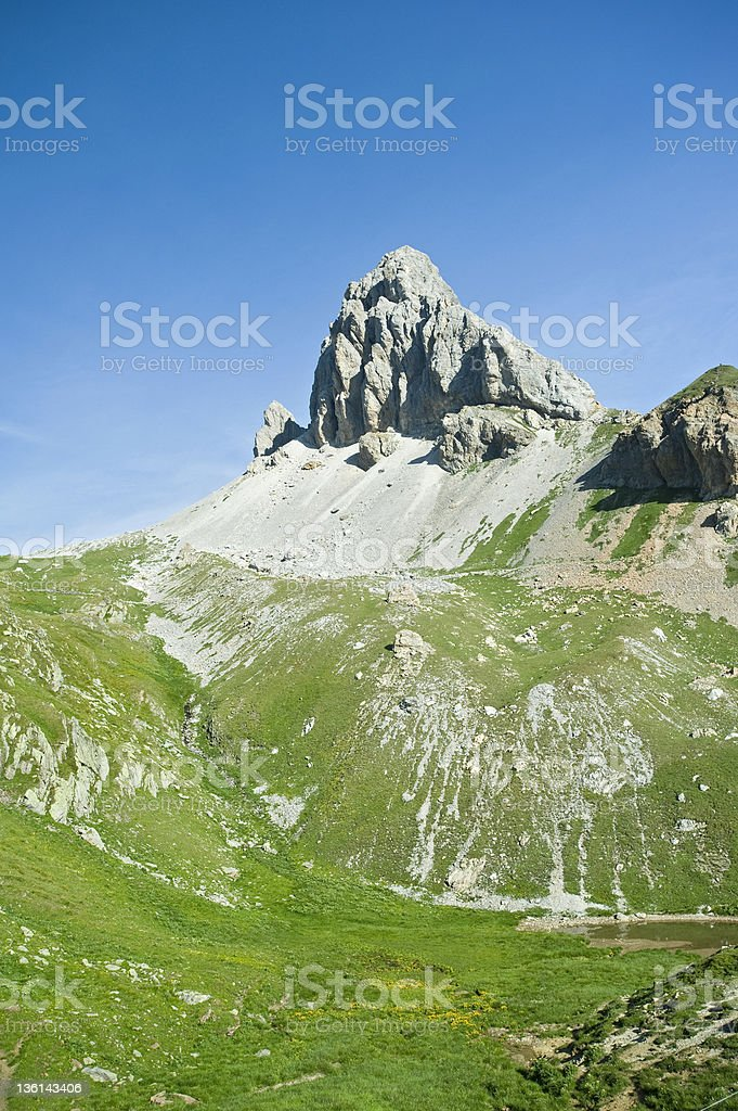 Panoramic view of a scenic summit in the Alps stock photo