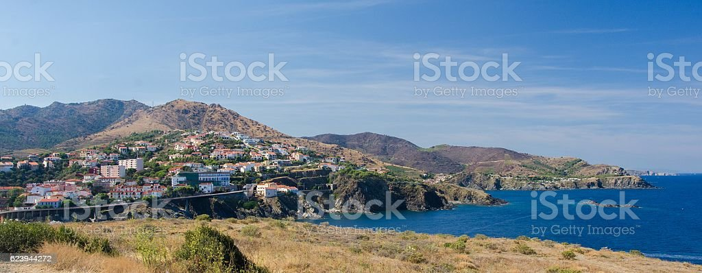 Panoramic view of a town by the seaside in Catalonia stock photo