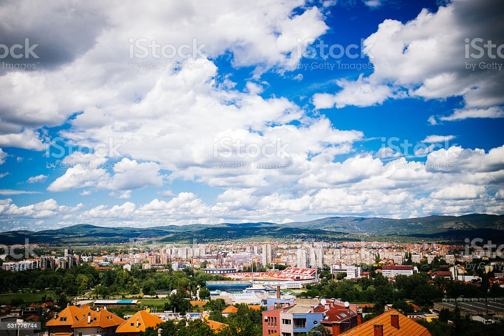 Panoramic view of a town stock photo