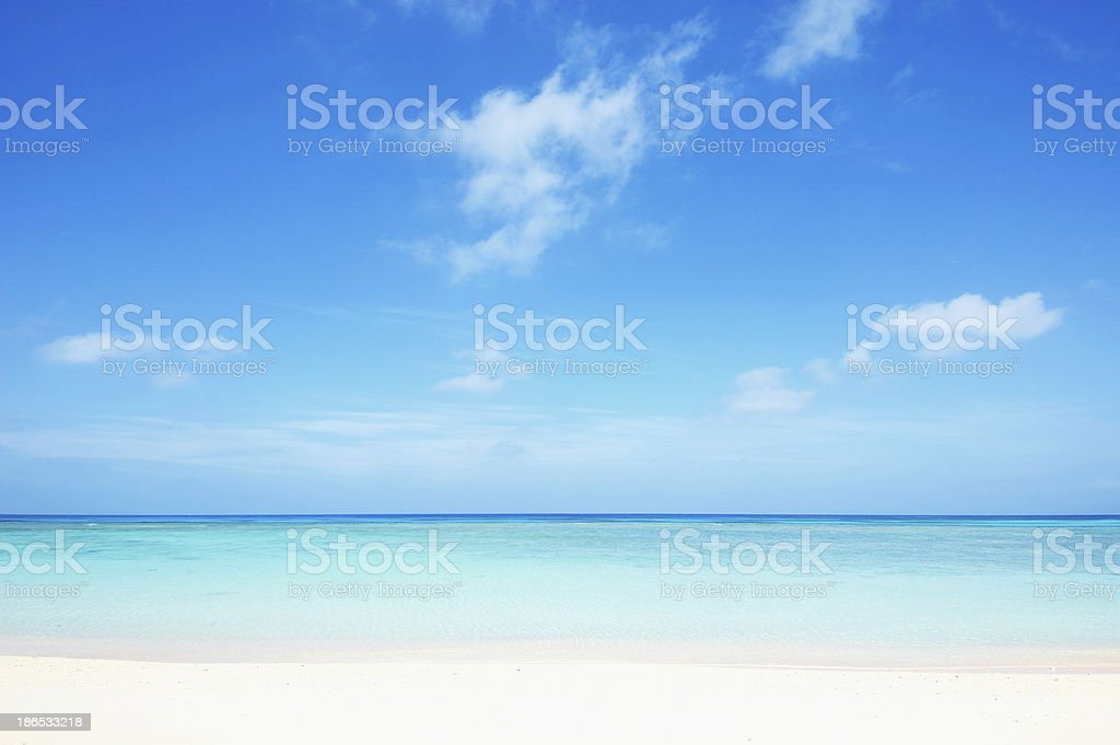 Panoramic view of a tropical beach and aqua water stock photo