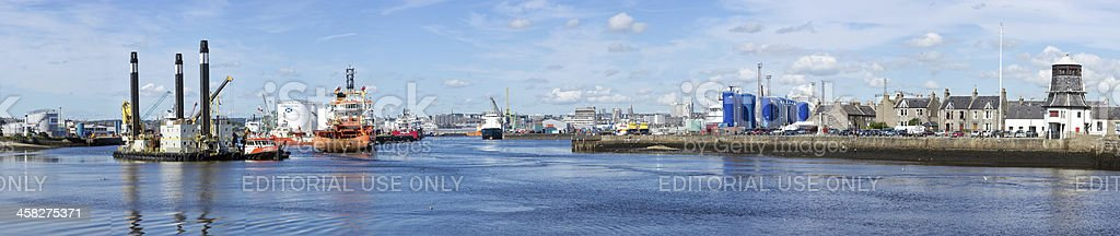 Panoramic view of Aberdeen Harbour stock photo