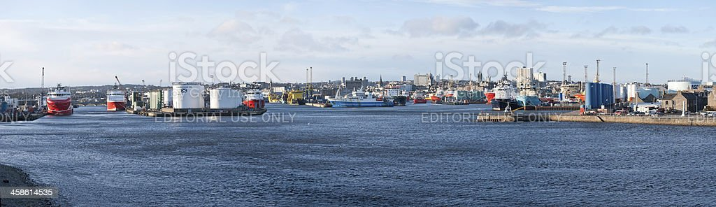 Panoramic view of Aberdeen Harbour royalty-free stock photo