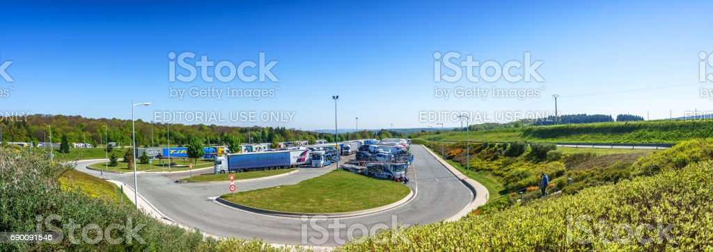 Panoramic view of Accommodation along the way at Avia car park, La Comtoise Road, stock photo