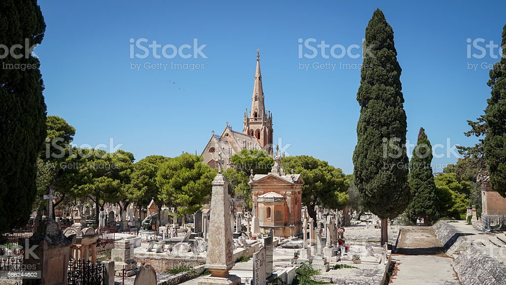 Panoramic view of Addolorata Cemetery stock photo