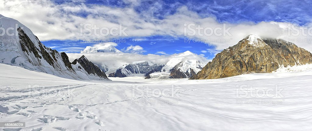 Panoramic view of Alaska Range in Denali National Park stock photo