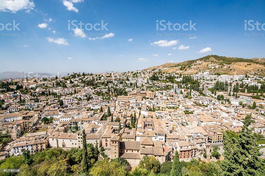 Panoramic view of Albaycin, old Muslim district in Granada stock photo