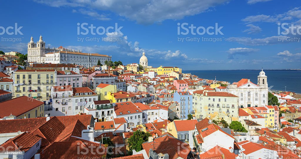Panoramic view of Alfama quarter, Lisbon, Portugal stock photo
