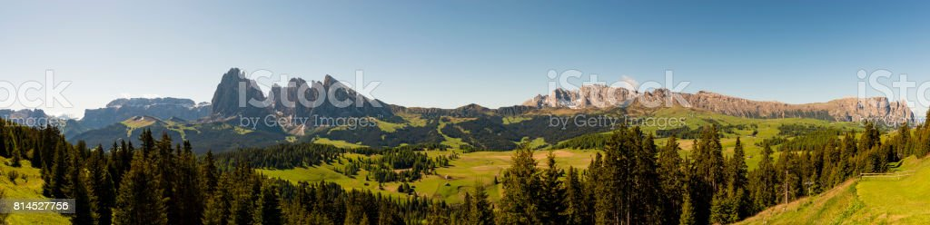 panoramic view of Alpe di Siusi in Trentino Alto Adige stock photo