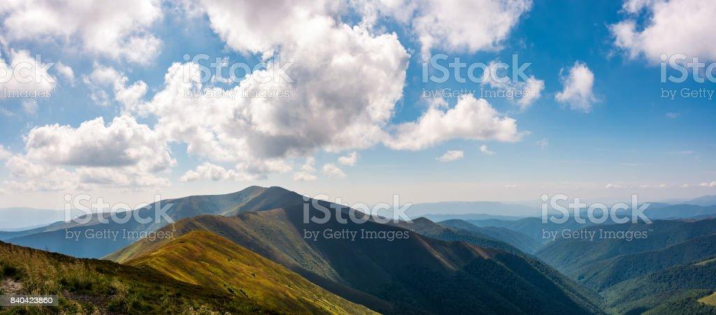 panoramic view of alpine mountain ridges stock photo