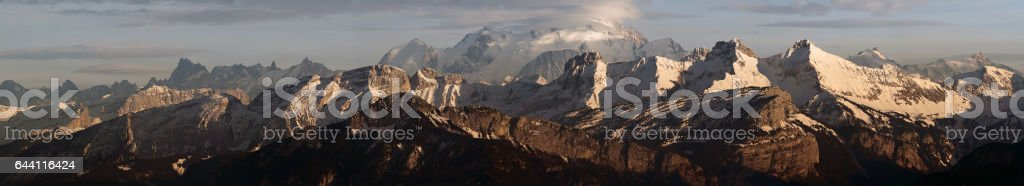 Panoramic view of Alps and Montblanc stock photo