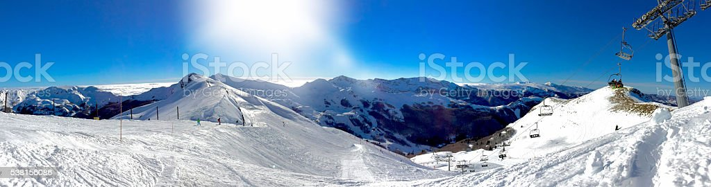 Panoramic view of Alps during winter season, Italy stock photo