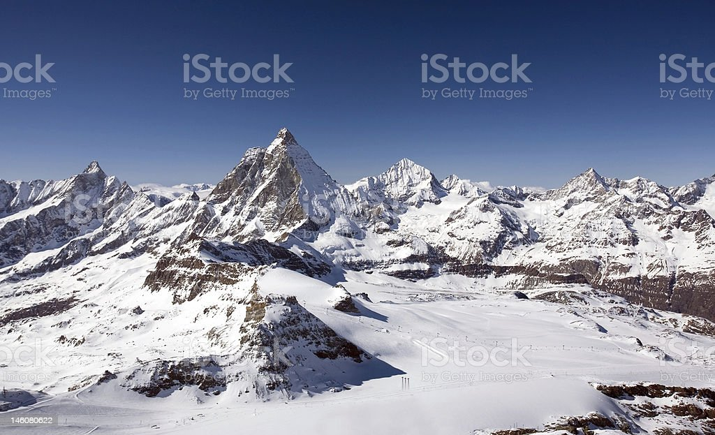 Panoramic view of Alps in Bernese Oberland region royalty-free stock photo