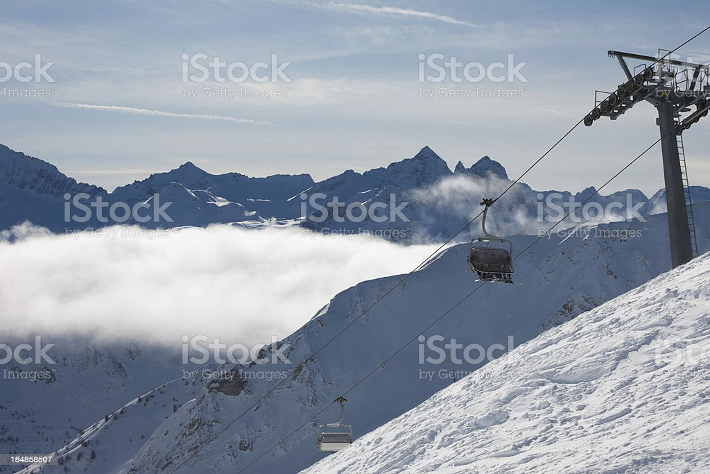 Panoramic view of Alps Mountains above the clouds stock photo