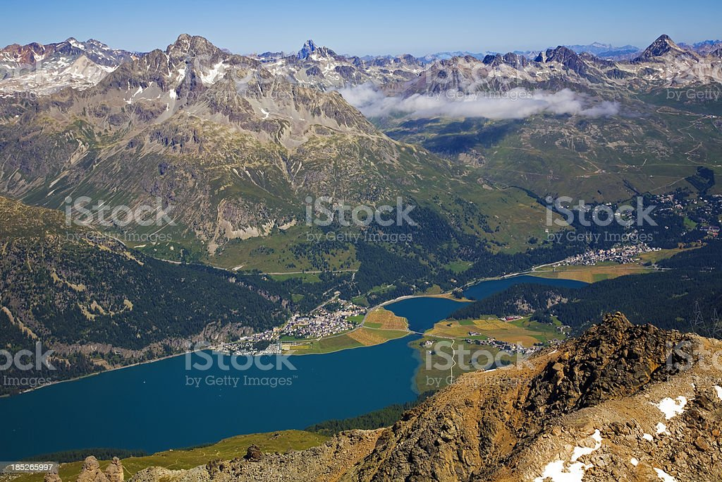Panoramic view of Alps Mountains stock photo