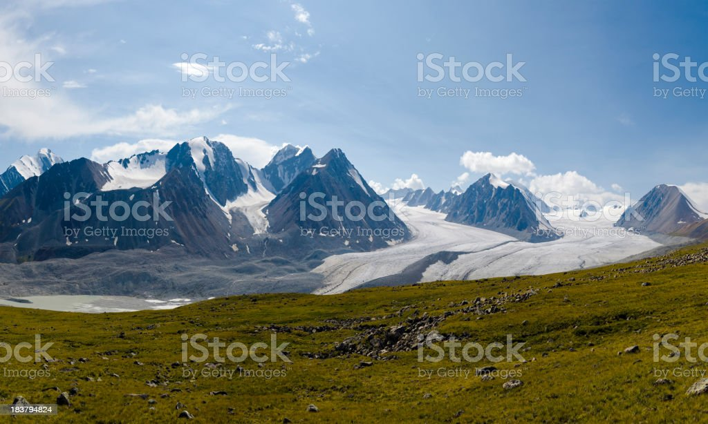 Panoramic view of Altai Mountains and glaciers stock photo