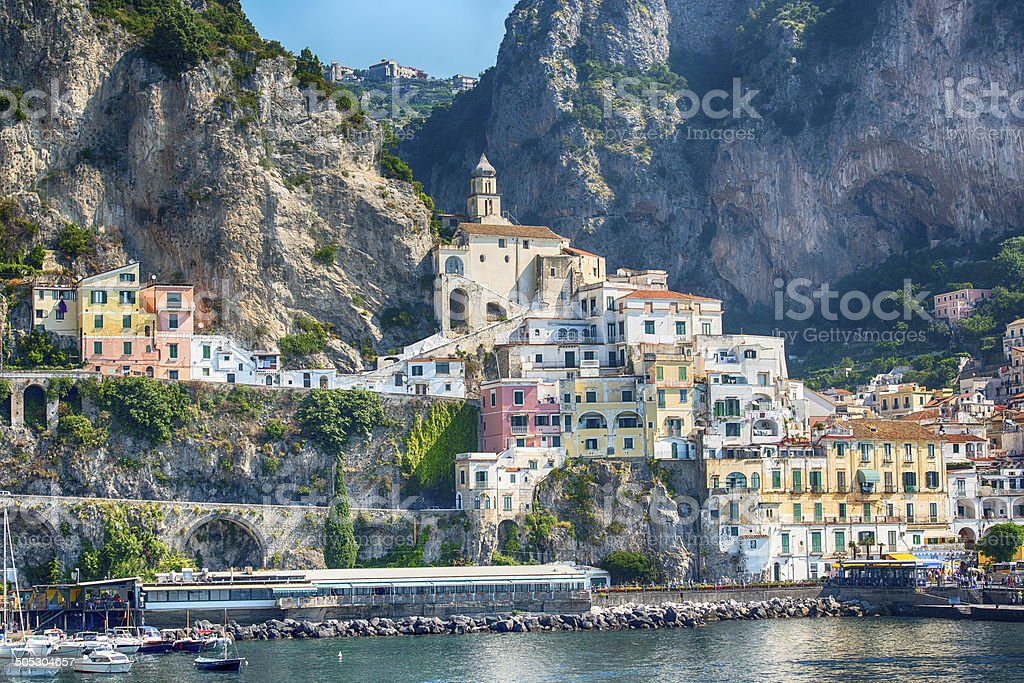 Panoramic view of Amafli town, Campania, Italy, XXL image stock photo