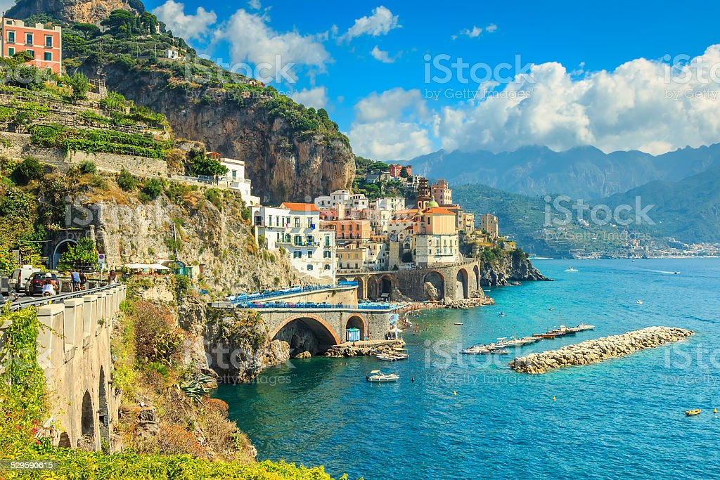 Panoramic view of Amalfi and harbor,Italy,Europe stock photo