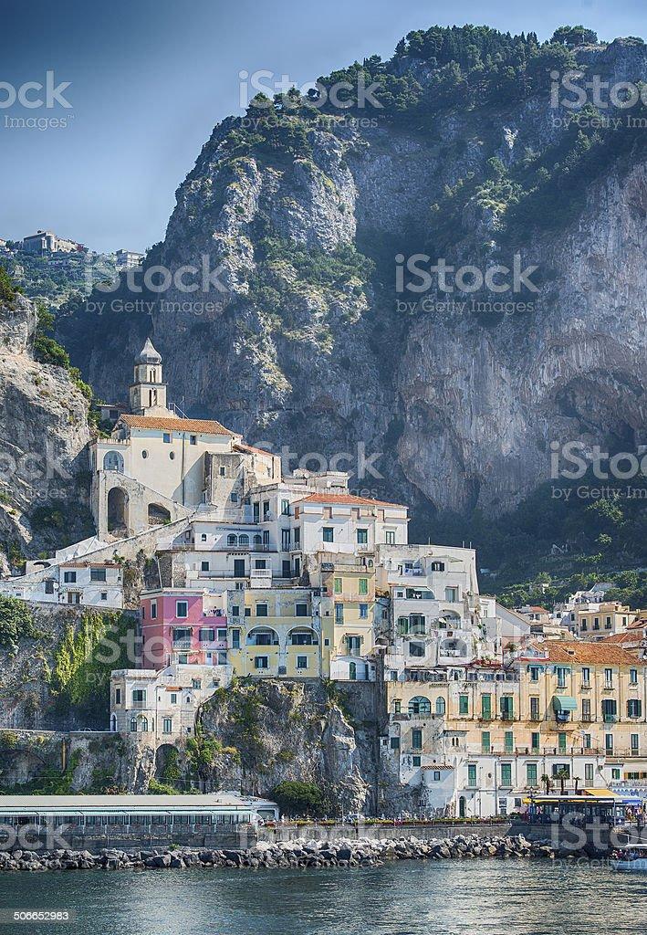 Panoramic view of Amalfi town, Campania, Italy stock photo