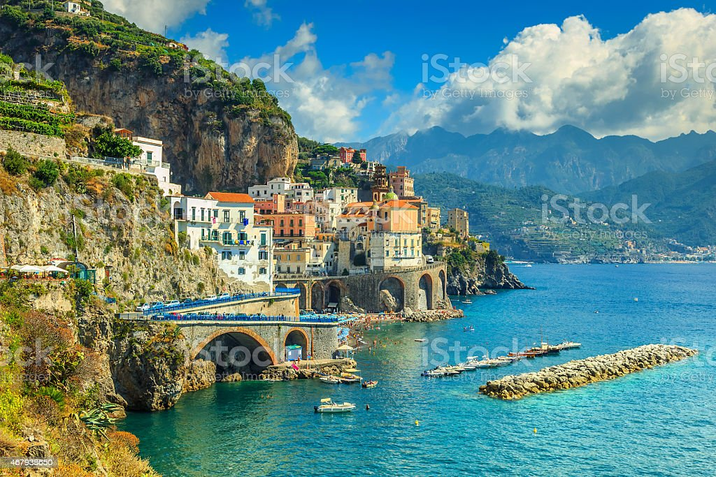 Panoramic view of Amalfi,beach and harbor,Italy,Europe stock photo