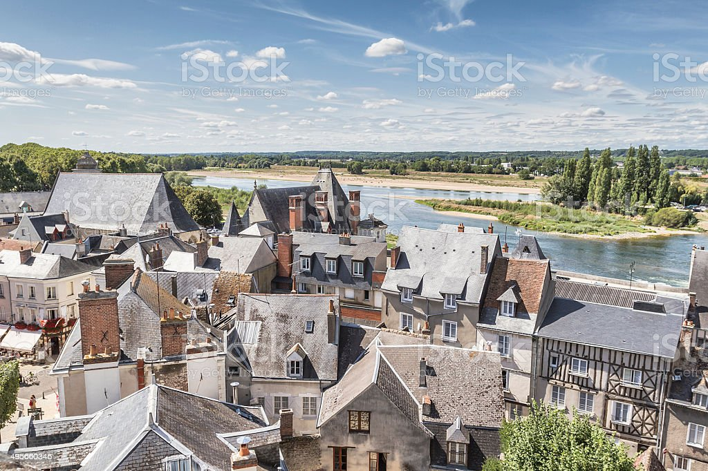 Panoramic view of Amboise - France stock photo