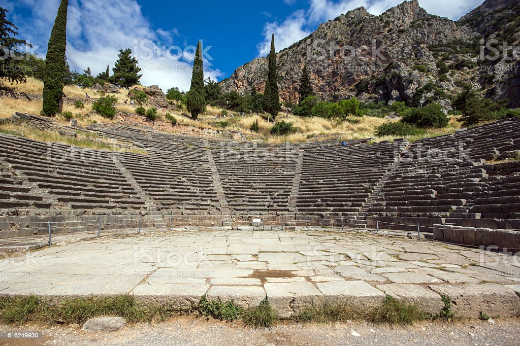 Panoramic view of Amphitheater in Delphi,Greece stock photo