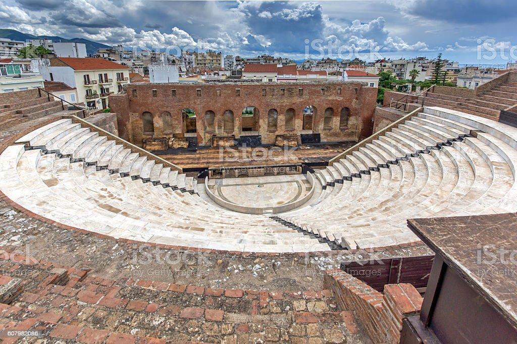 Panoramic view of Amphitheater in Roman Odeon, Patras, Peloponnese, Greece stock photo