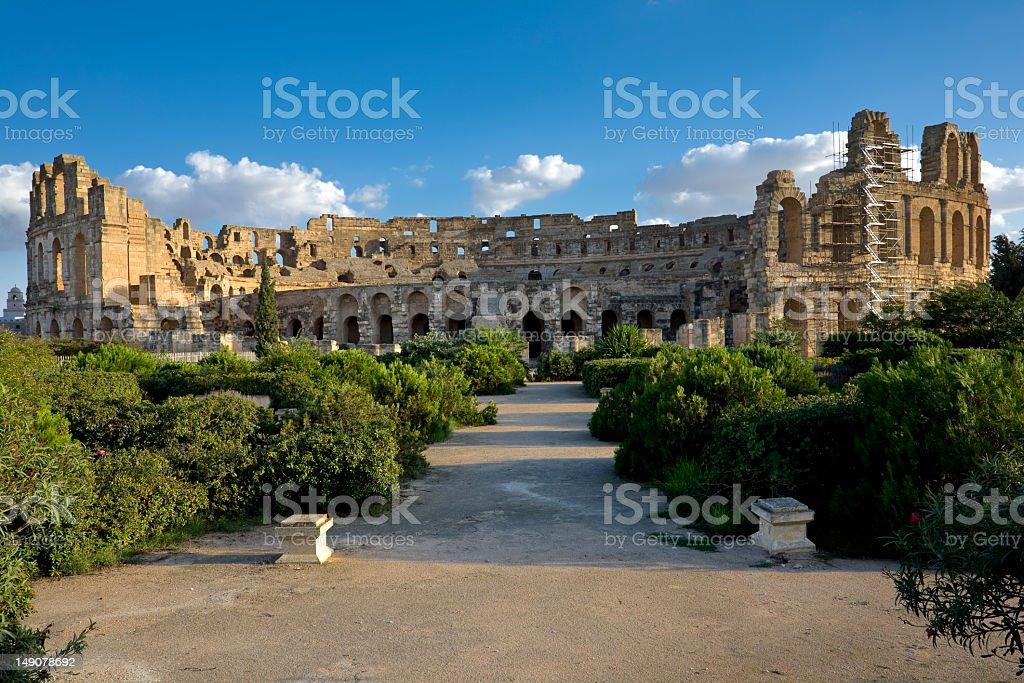 Panoramic view of Amphitheatre of El Jem stock photo