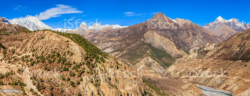 Panoramic view of Annapurna Conservation Area above Manang, Nepal stock photo