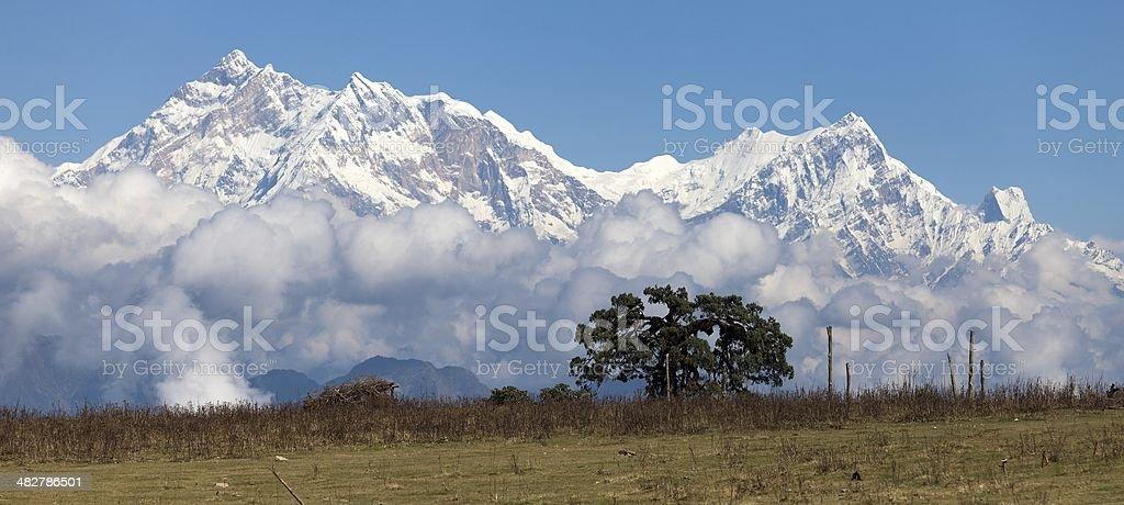 Panoramic view of Annapurna Himal - Nepal - Asia royalty-free stock photo