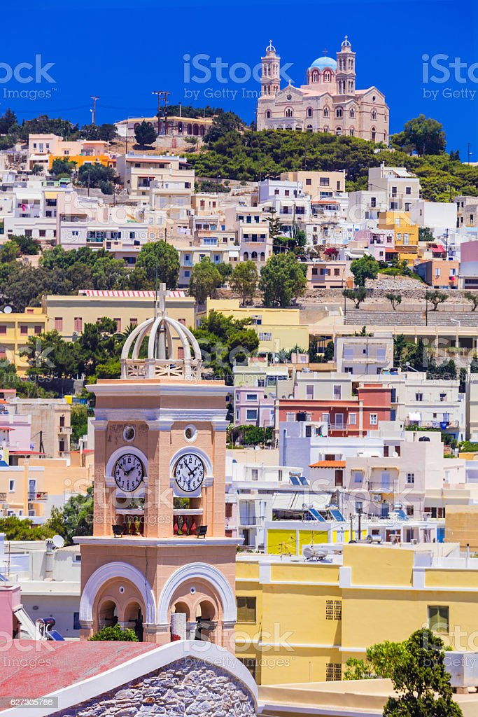 Panoramic view of Ano Syros. stock photo