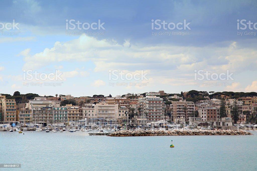 Panoramic view of Anzio and Nettuno old town, Italia stock photo
