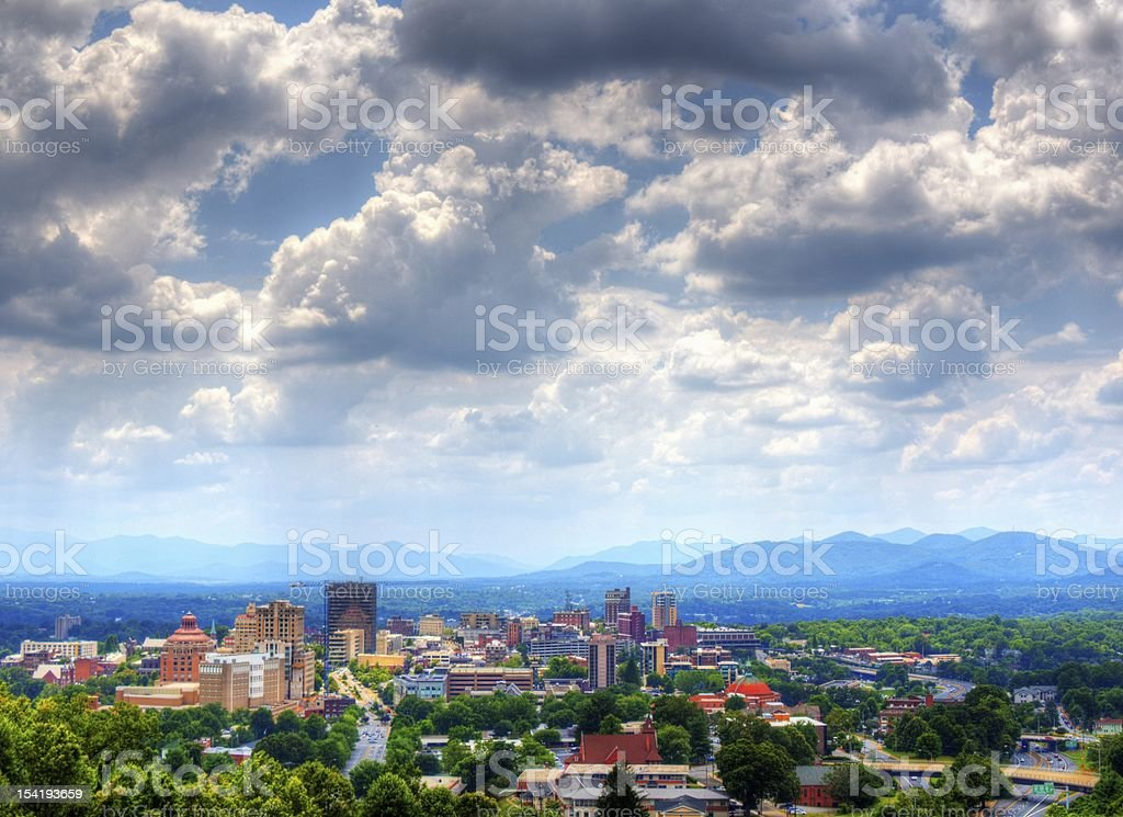 Panoramic view of Asheville, North Carolina on a cloudy day stock photo