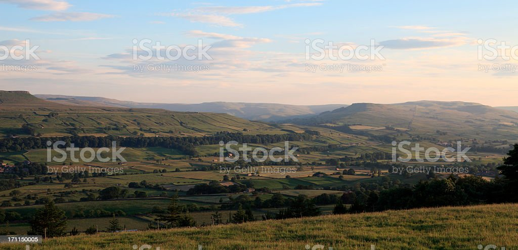 Panoramic view of Askrigg in Wensleydale at sunset stock photo
