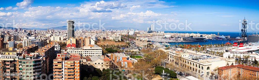 panoramic view of Barcelona from Montjuic stock photo