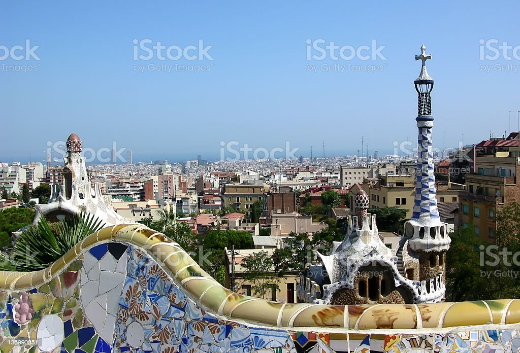 Panoramic view of Barcelona in the afternoon royalty-free stock photo