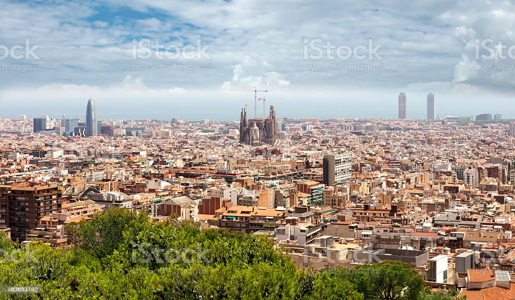 Panoramic view of Barcelona stock photo