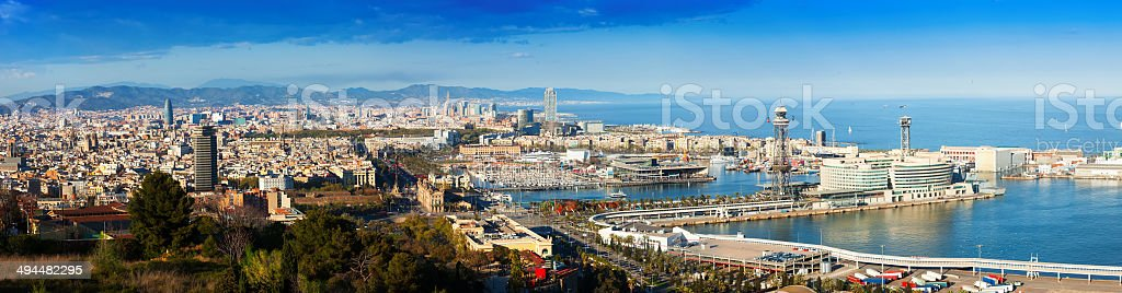 Panoramic view of Barcelona with Port stock photo