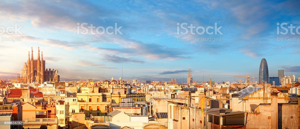 Panoramic view of Barcelona with Sagrada Familia stock photo