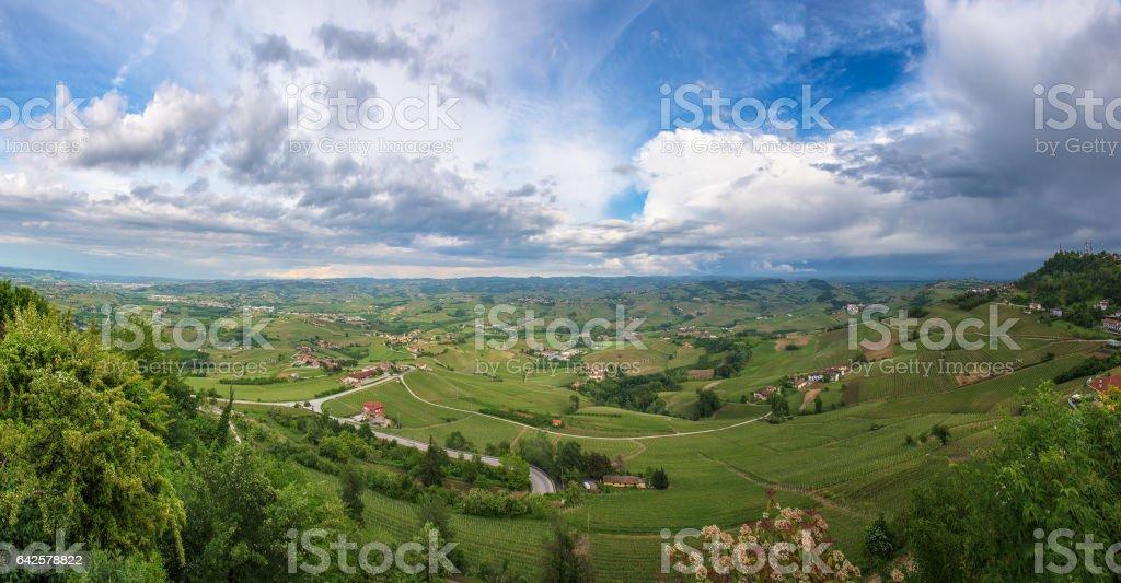 Panoramic view of Barolo vineyards, Piedmont, Italy stock photo