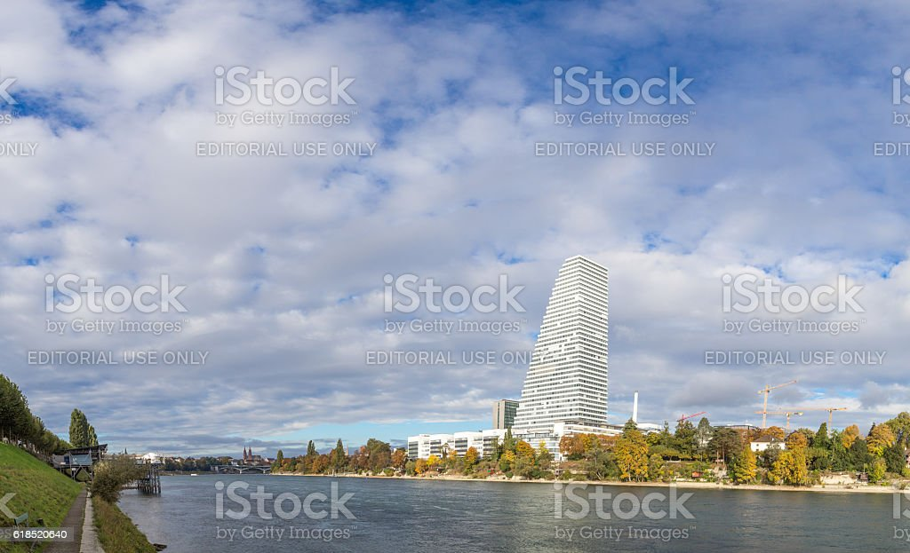 Panoramic view of Basel with Roche Tower stock photo