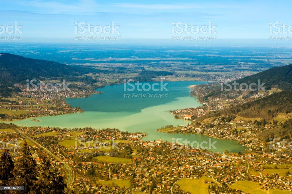 panoramic view of bavaria lake tegernsee stock photo